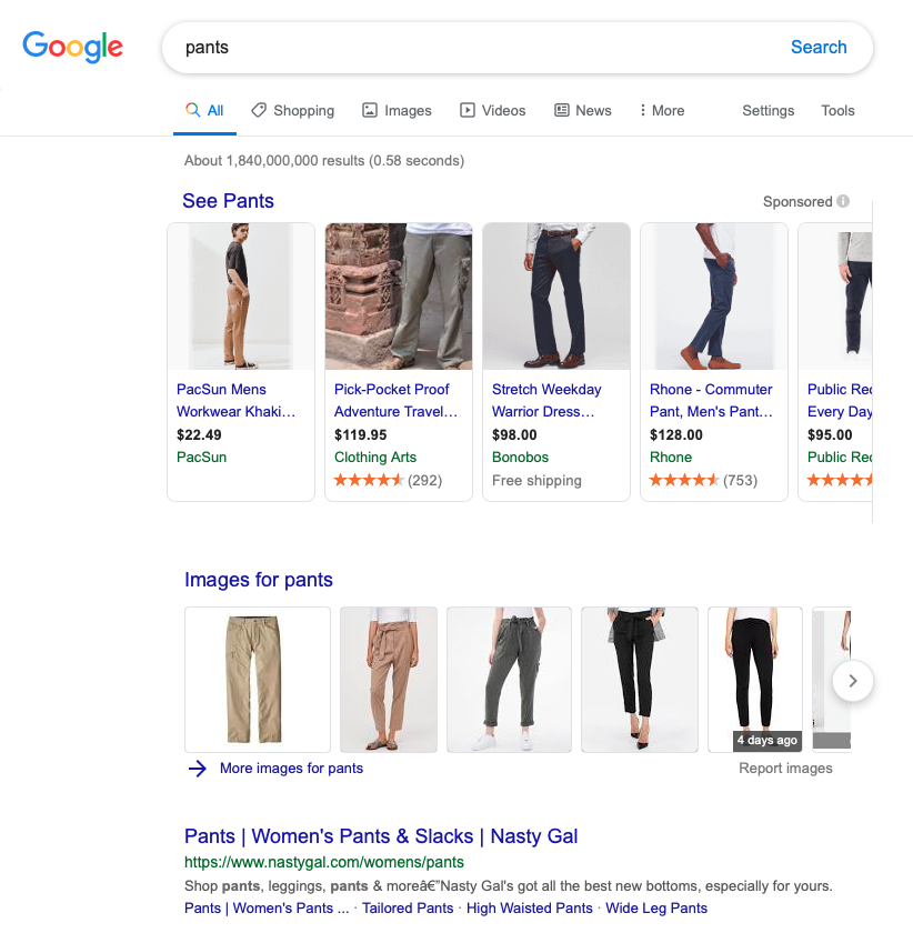 "A search for ""pants"" on the US version of Google."