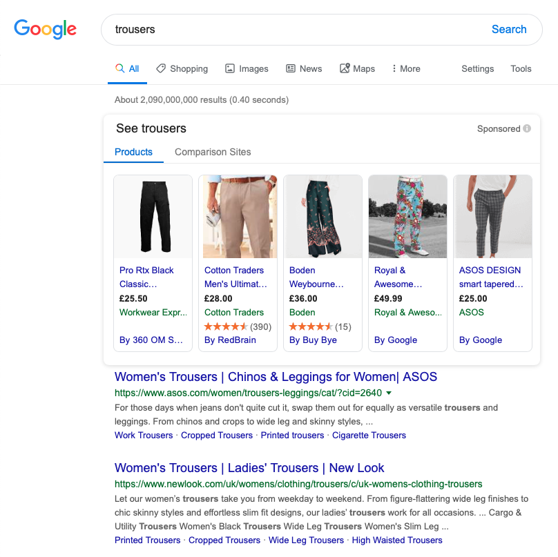 "A search for ""trousers"" on the UK version of Google."