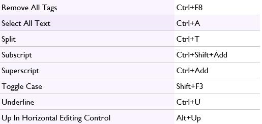 memoQ shortcuts 7