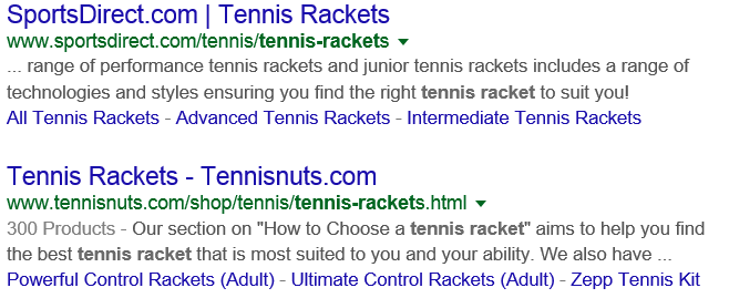 Tennis racket results